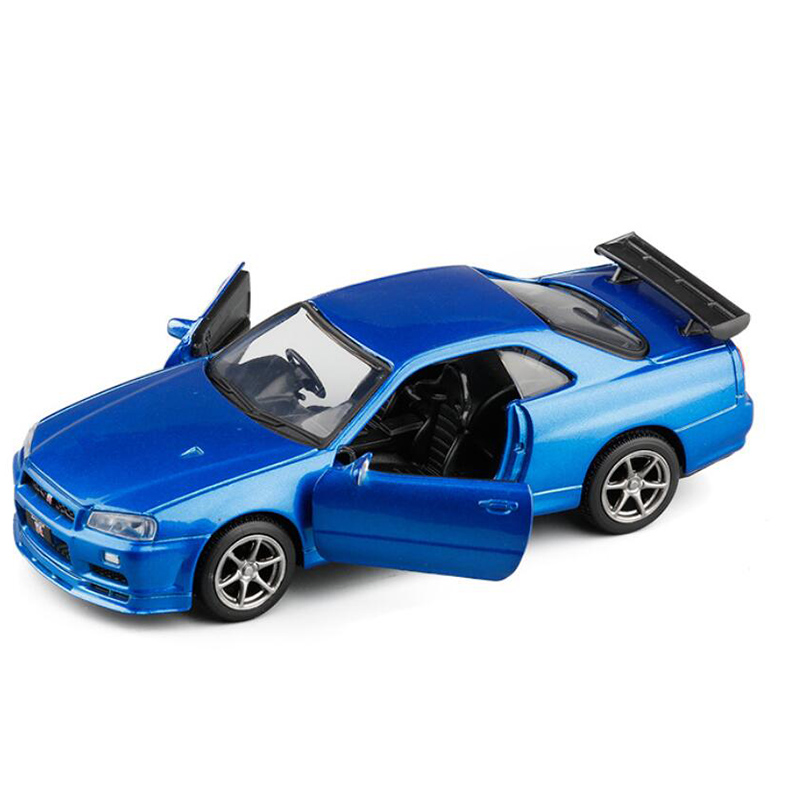 High Simulation 1:36  Alloy Model Car Vehicle GTR R34 Sport Car Metal Model Collection Display Boys Gift Toys For V135
