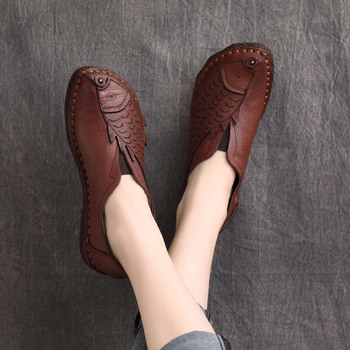 Black Loafers Women Leather Flats Soft Shoes for Women Handmade Genuine Leather Soft Low Heels Ladies Embroidery Shoe Brand 2021