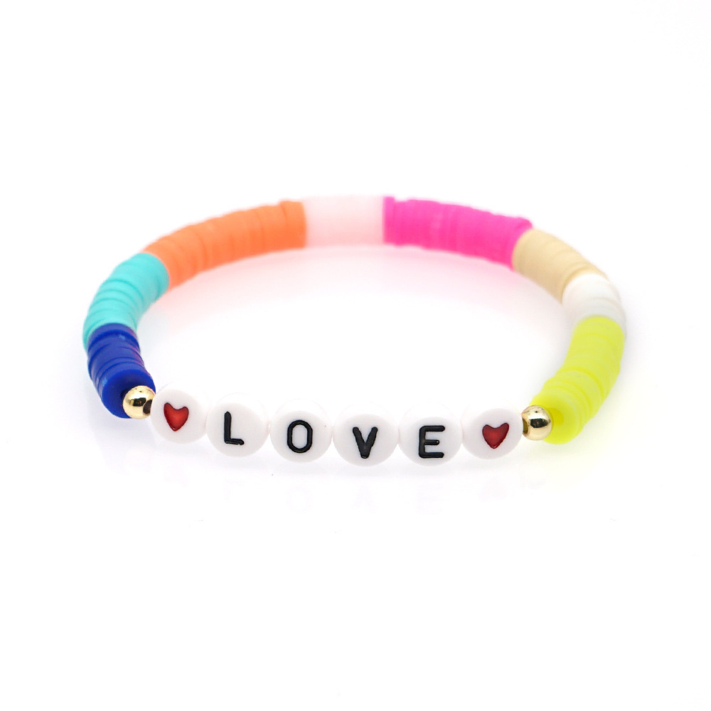 2020 New Arrival Multicolor Polymer Clay Letter Bracelet Ethnic Handmade Bohemian Elastic Friendship Bracelets Bead Jewelry