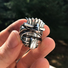 EYHIMD Māori Mythology Silver Stainless Steel Tiki Totem Rings Mens Tribal Unique Biker Amulet Jewelry(China)