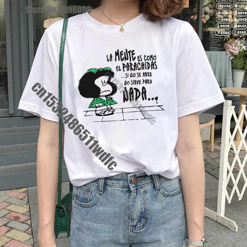 Cartoon Toda Mafalda Tshirt Vrouwen Harajuku Brief Afdrukken T-shirt Fashion Ullzang Vrouwelijke Streetwear Tops Tee Koreaanse Tshirt Vrouwelijke