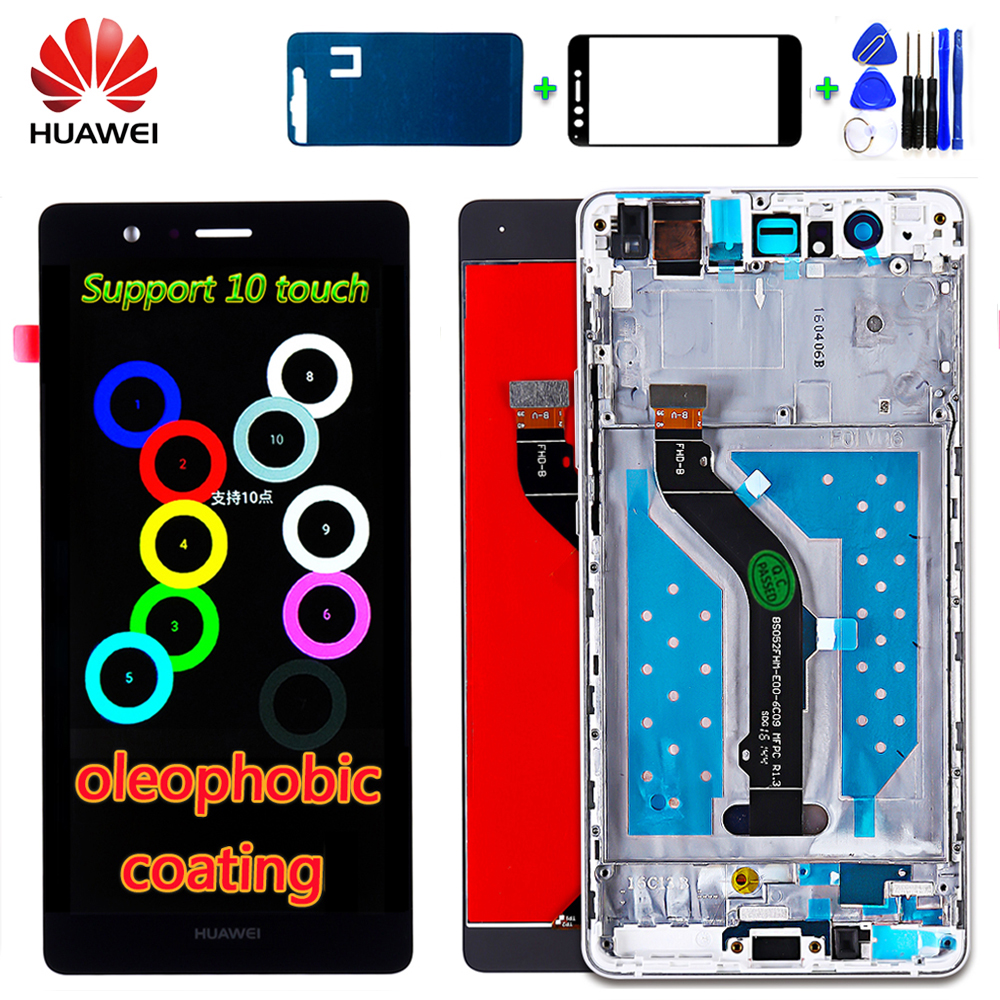Original Huawei P9 Lite 5.2 Inch LCD Display Touch Screen Digitizer Assembly Frame With Oleophobic Coating 10 Multi-Touch