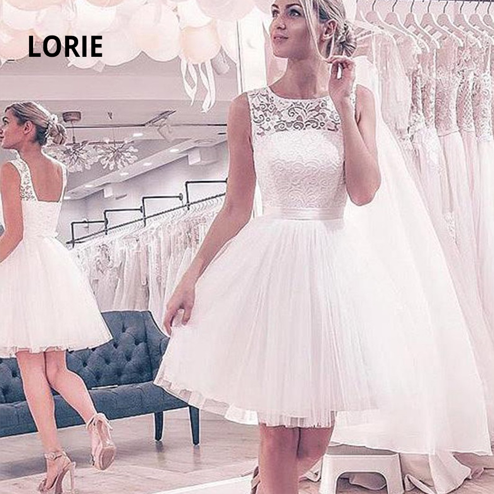 LORIE 2020 Lace Short Wedding Dresses Soft Tulle Knee-Length Beach Boho White Bridal Gowns Lacing Party Dancing Dress With Belt