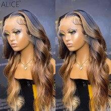 ALICE-pelucas de cabello humano ondulado 13x4 para mujeres negras, cabello brasileño con densidad de 180, pelo de bebé prearrancado