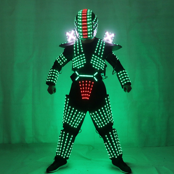 RGB Color LED Growing Robot Suit Costume Men LED Luminous Clothing Dance Wear For Night Clubs Party KTV Supplies led costume led clothing light suits led robot suits kryoman robot david guetta robot size color customized