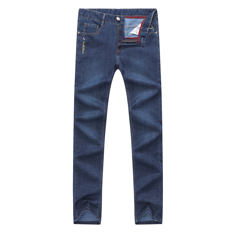 High Quality Men Business Jeans Male Casual Shark Denim Pants Fashion Embroidery Trousers Plus Size Homme Straight Full Length