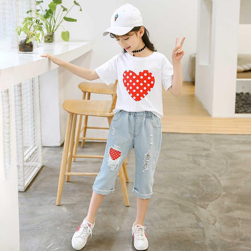 Conjuntos De Ropa Para Chicas Adolescentes Camiseta De Retales Jeans Tops De Moda Pantalones Vaqueros Para Ninas Ropa De 6 7 10 11 12 Y 14 Anos 2020 Set De Ropa Aliexpress