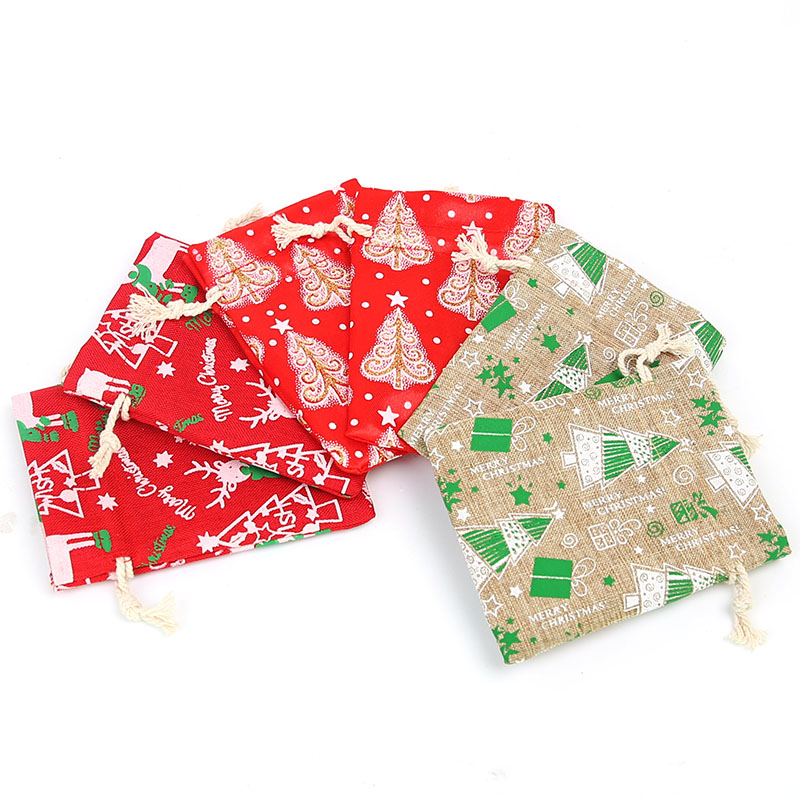 9 * 12cm Imitation Linen Gift Drawstring Bag Christmas Gift Bag Cute Gift Small Square Bag 50pcs