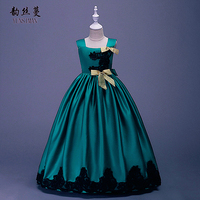 Kids Girls Long Dress Elegant Party Show Costume with Bow for Big Girls 4 6 to 14 Years Green Red Yellow Princess Clothes 1A5F