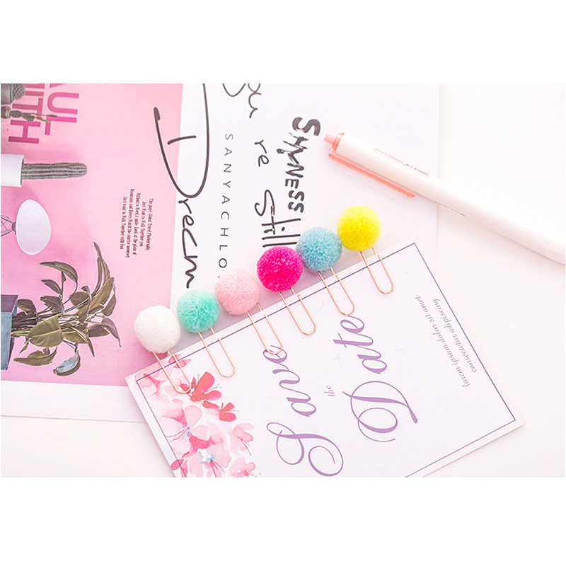 6pcs/pack Colored Hairball Paper Clip Bookmark Gift Stationery School Mistress Gift School Office Supply