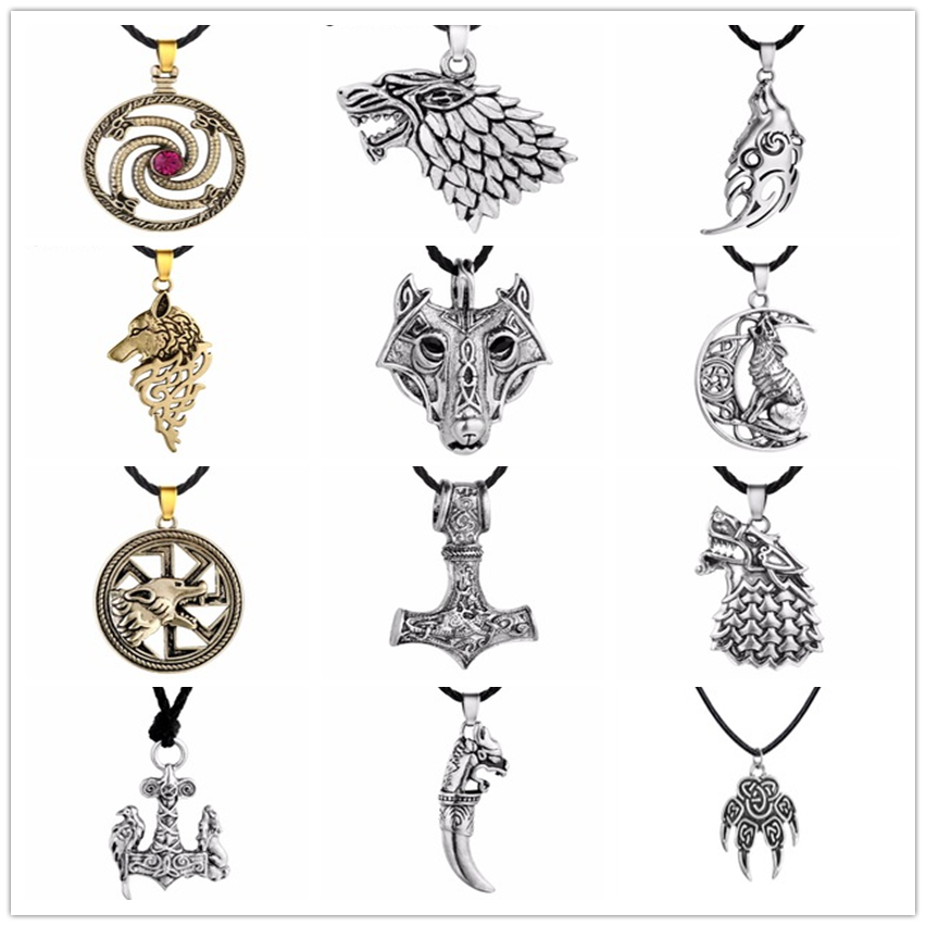 Chandler Steampunk TV film Game of Thrones loup collier tête de loup Stark Badge Animal bijoux griffe païenne amulette Colier pour homme