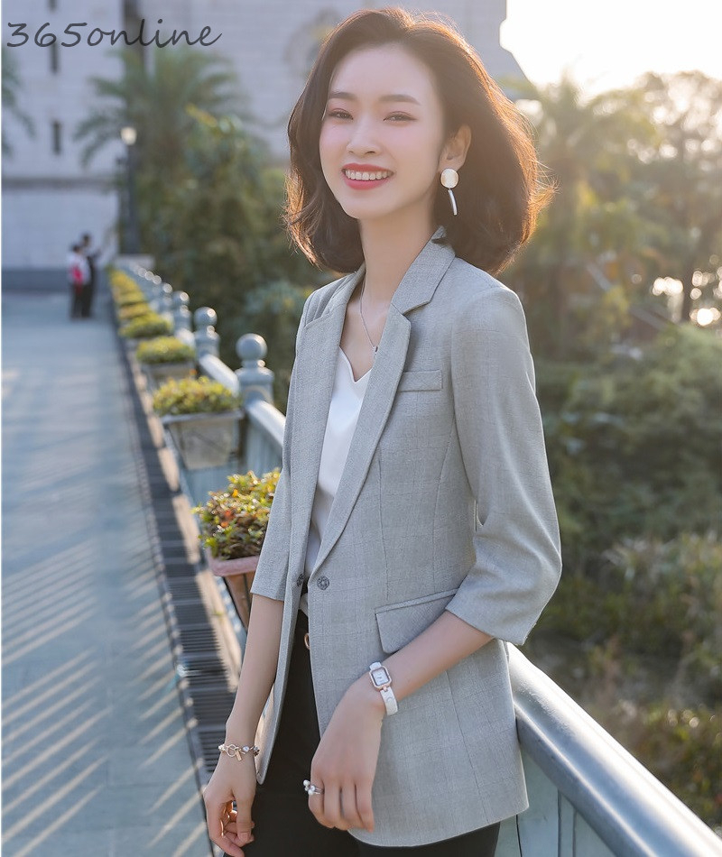 New Styles Spring Summer Blazers Jackets Coat Half Sleeve Professional OL Styles Blaser Women Business Work Wear Tops Clothes