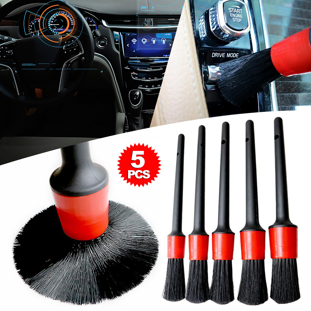 5Pcs Car Detailing Brush Set Detail For Cleaning Wheels Engine Emblems Air Vents  Auto Detailing Cleaning Brush Dashboard Wheel
