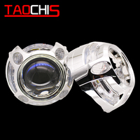 TAOCHIS YT106 3.0 inches bi xenon projector lens shroud LED DRL JG car headlights chrome angel eyes white red blue yellow color