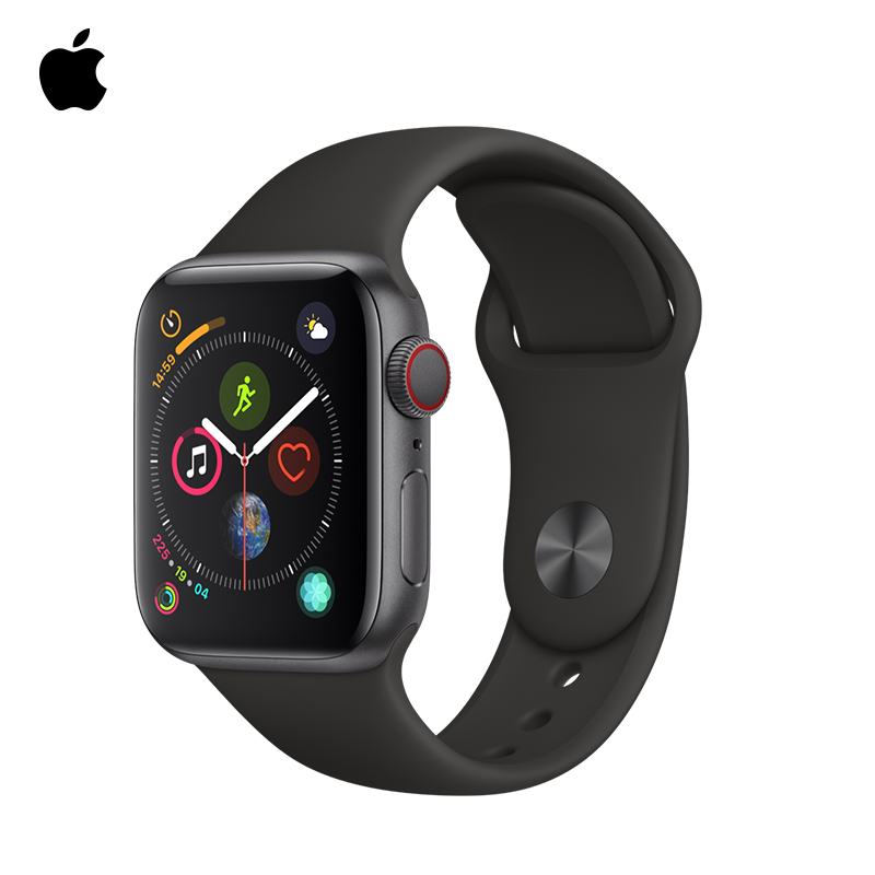 Apple Watch Series 5 44mm Silver Aluminum Case with White/Black/Pink Sport Band,Sports smart heart rate phone watch image