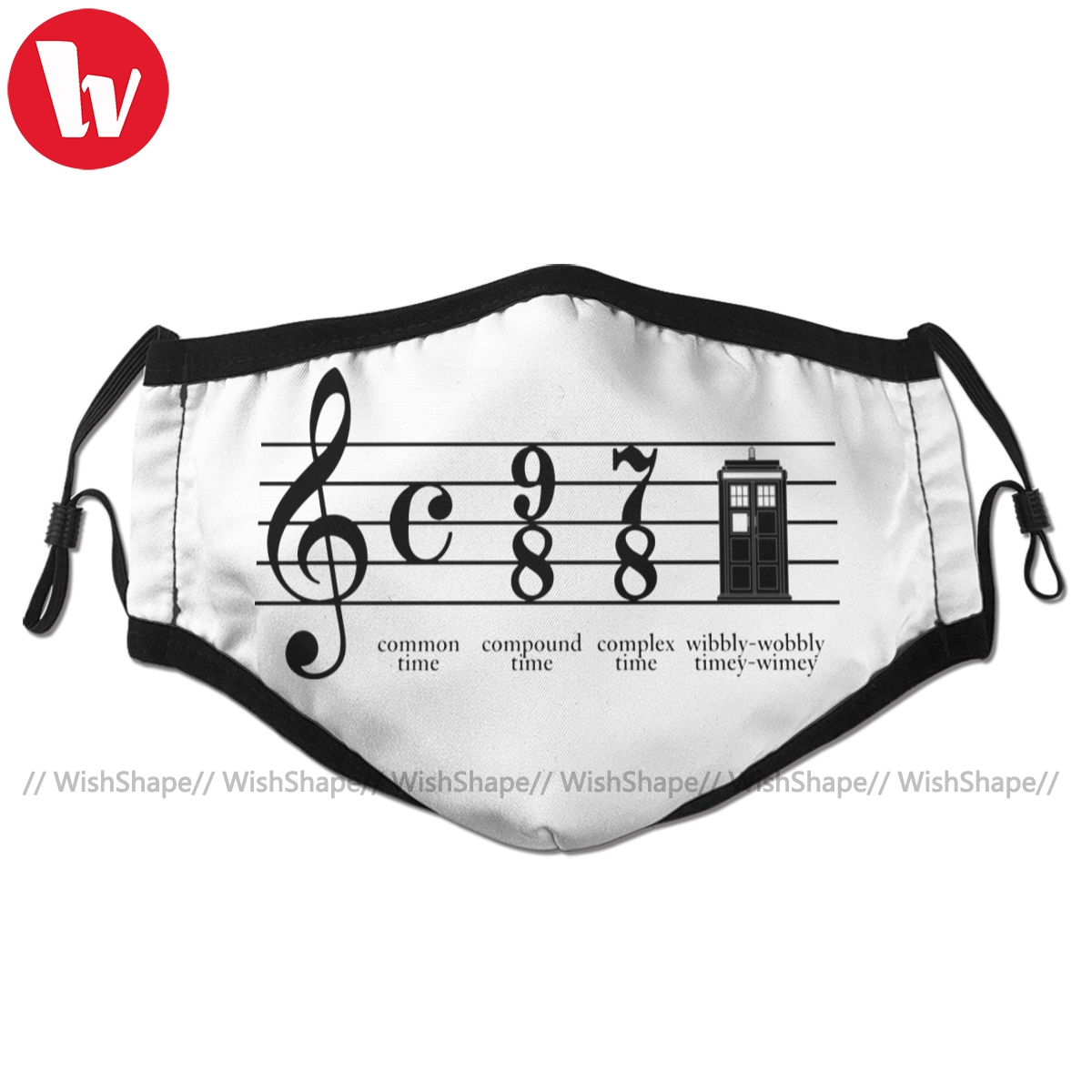 Music Notes Mouth Face Mask Wibbly Wobbly Timey Wimey Facial Mask Fashion Funny with 2 Filters for Adult
