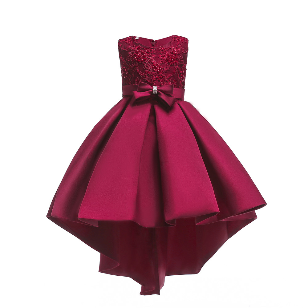 Shiny Toddler Big Girls Pearl Decoration Embroidery Cotton Tailed Show Party Dress