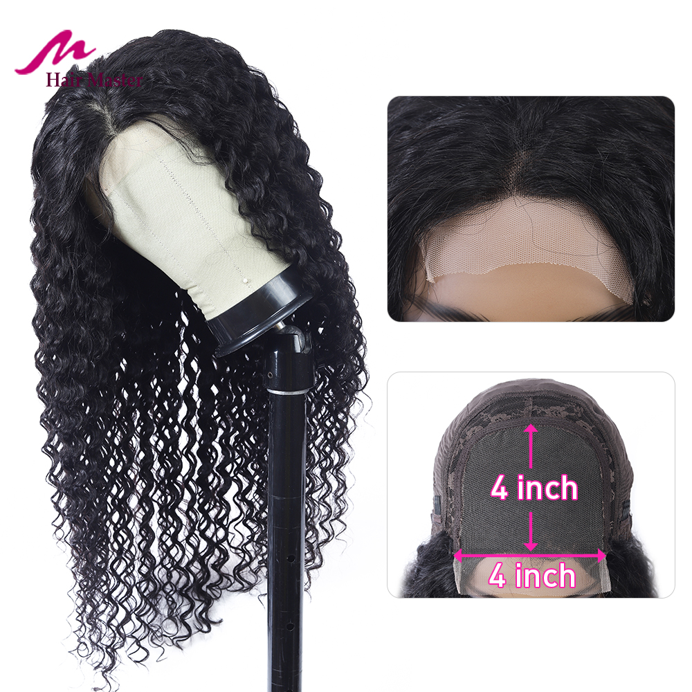 4*4 Closure Wigs Human Hair Lace Wig Malaysian Deep Wave Human Hair Wigs For Black Women Closure Wig Fast Shipping Remy Hair