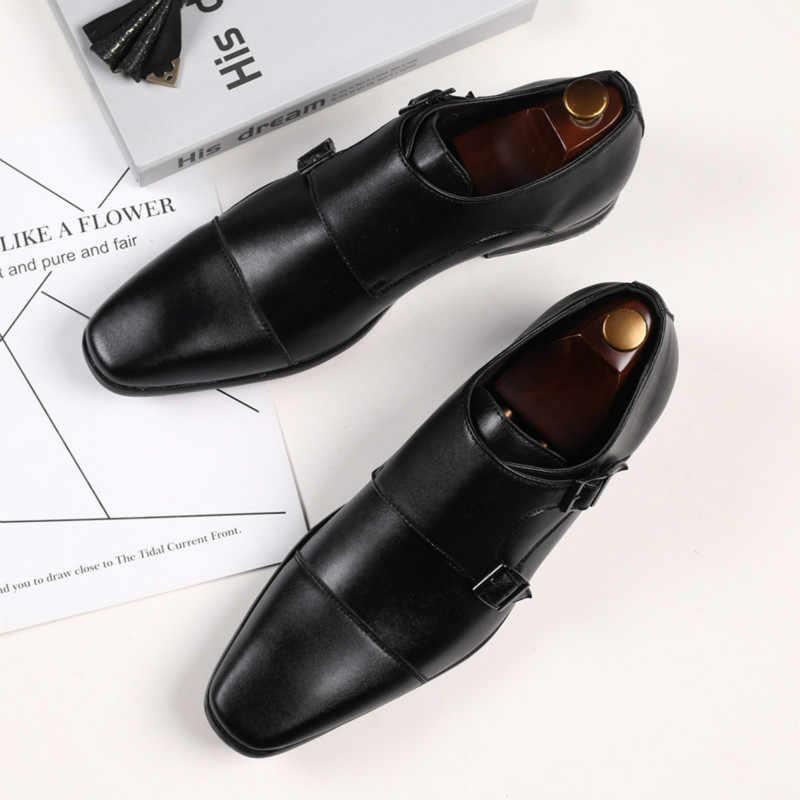 موضة مشبك أحذية رجالي أحذية جلدية بدون كعب فستان رجالي أحذية كبيرة الحجم 39-48 شبه الرسمي أحذية للرجال البدلة أحذية Abito أنيقة Uomo
