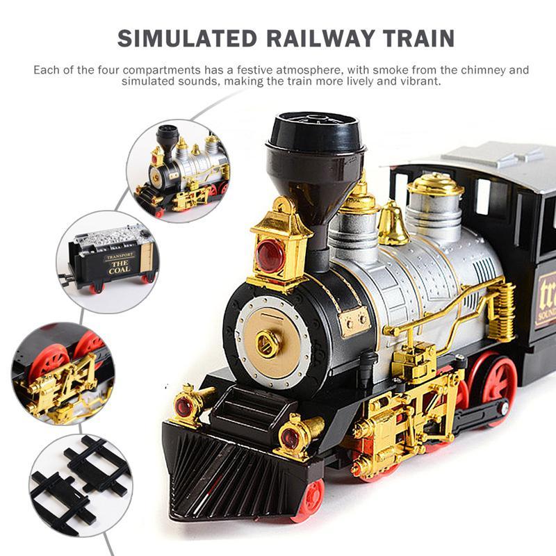 Conjunto de juguete tren simulación Retro vapor fumar música eléctrica luces vía de tren de juguete niños y niñas regalos de Año Nuevo - 5