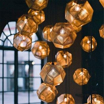 Nordic Style Pendant Lights Stainless Steel Rhomboid Lampshade hanging lampLiving Room Bedroom Pendant Lamp Loft Hanglamp lustre