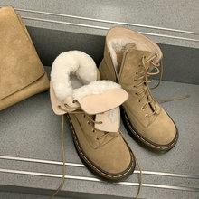 New Arrival jesień zima kobiety śnieg buty moda naturalne oryginalne skórzane buty damskie wełna jagnięca Martin rozmiar butów 34-41 tanie tanio SKLFGXZY CN (pochodzenie) Krowa Zamszu ANKLE Wąskim paśmie Stałe cowhide Plac heel Buty śniegu Z wełny Okrągły nosek