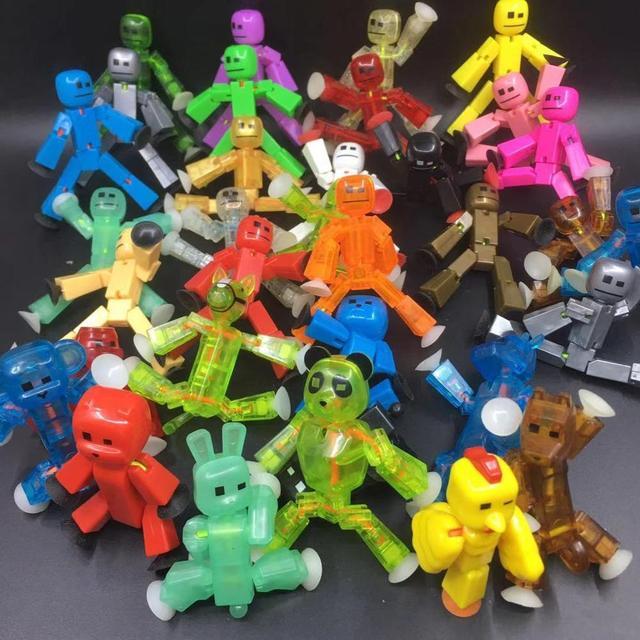 10 20 Stks/set Kleuren Willekeurig Verzenden Leuke Sticky Dier Robot Sucker Zuignap Grappige Vervormbare Stok Bot Action Figure speelgoed