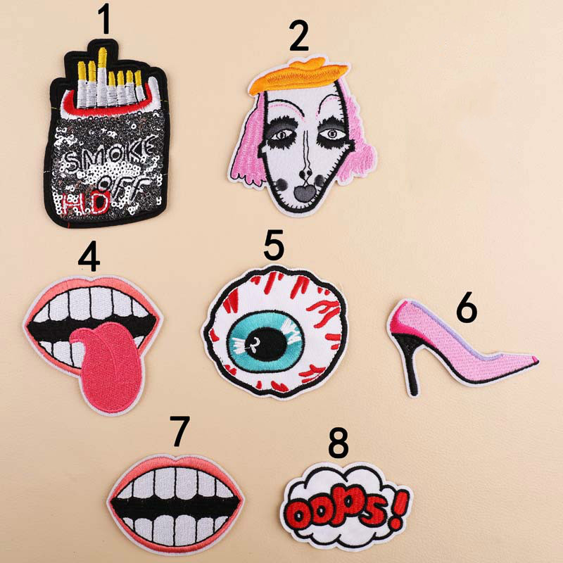 DIY Cigarette Eyeball Mouth Clothes Patch Stickers Repair Decoration Embroidery Patch Chapter Applique Ironing Sewing Supplies
