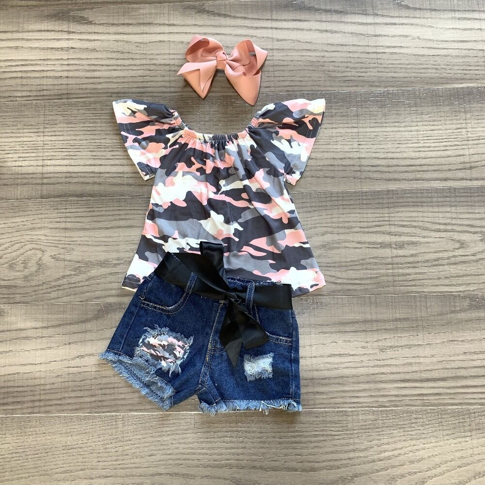 Baby Girls Clothes Girls Summer Outfits Girl Camouflage Shirt Jeans Shorts Children Clothing With Bow
