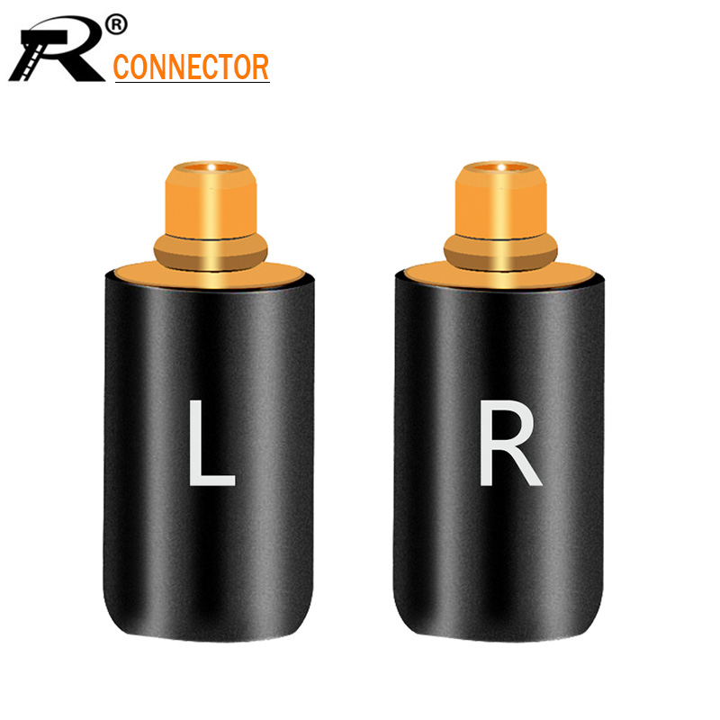 2Pcs/1Pair Enthusiasts Jack L/R MMCX Black/Silver Earphone Pin Plug For Shure ED5 SE535 Gold Plated Connector
