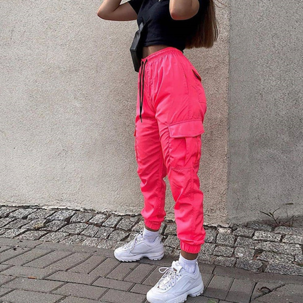 2020spring Women Neon Pink Pockets Jogger Fashion Pants High Waist Loose Trousers Fashion Trousers Female Sweatpants