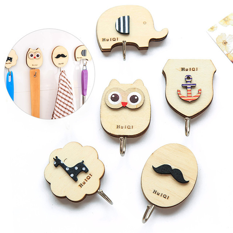 Hook Keys Holder Wall Home Creative Cute Wooden Animal Wall Hooks Strong Load-Bearing Door Rear Adhesive Three-Dimensional Hook