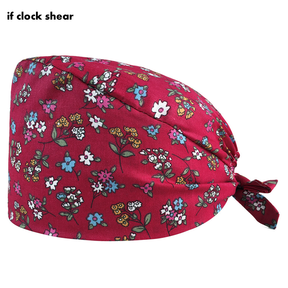 job essential high quality clean scrub hat Floral print Beauty spa pet store work Lab scrub cap Pet grooming work Sanitary hat