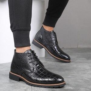 Image 3 - Homens botas de couro grande Size38 48 laço acima botas de cowboy homem sapatos masculinos à prova de água botas novas sapatos de plataforma botines hombre