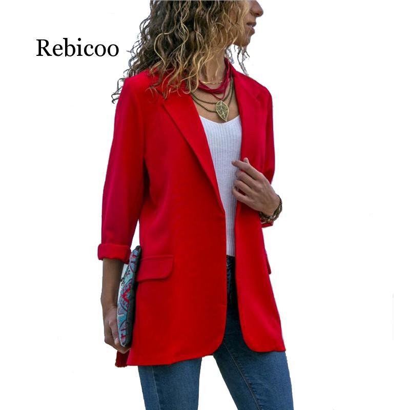 2019 new spring Women Blazer Long Sleeve Open Front Lightweight Casual Office Lapel Turn Down Collar Slim Jacket Outwear Female