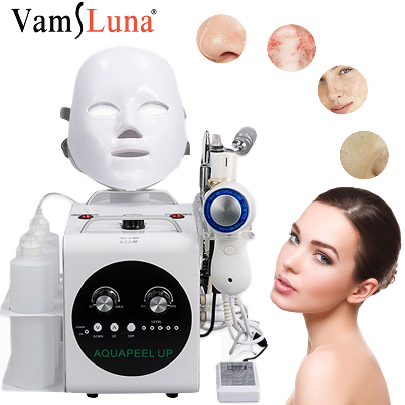 5 In 1 Small Bubble Water Hydrogen Oxygen Injection Gun Facial LED Mask Machine Vacuum Suction Blackhead Clean Sprayer