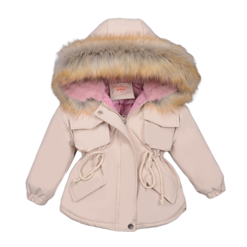 winter girl quilted jacket baby Hooded fur collar thick cotton padded clothes child