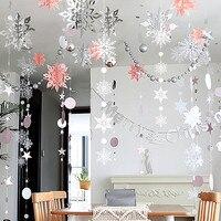 Congelados decoración de la fiesta de 3D Artificial papel para crear copos de nieve guirnaldas adornos de Navidad cumpleaños fiesta de invierno adornos navideños para el hogar