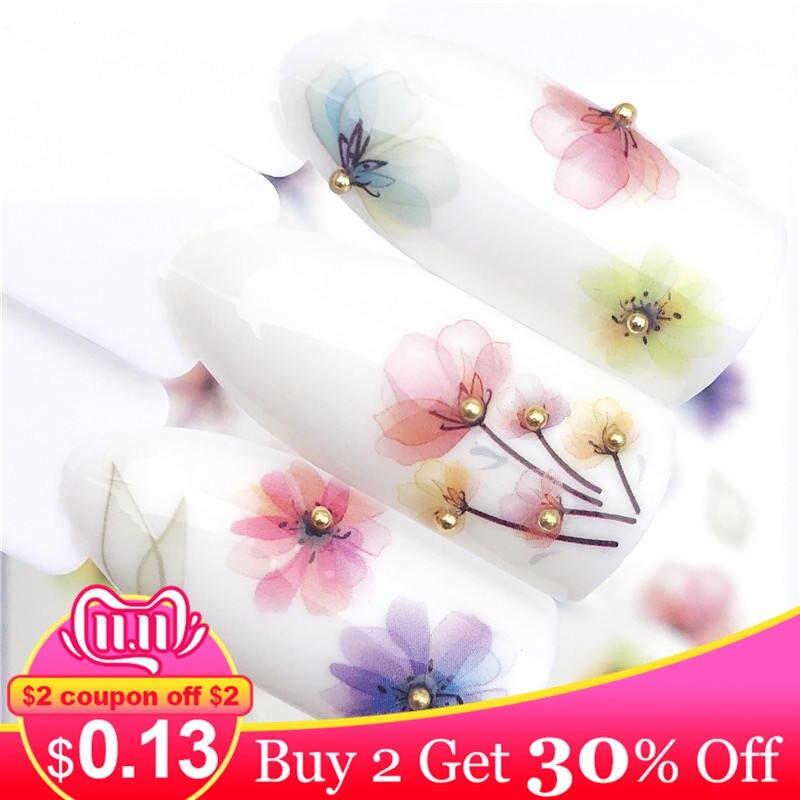 Zko 1 pc transparente cor flor transferência de água etiqueta da arte do prego decalques diy moda envoltórios dicas manicure ferramentas