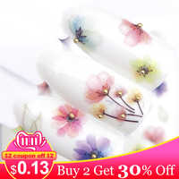 ZKO 1 PC Transparent Color Flower Water Transfer Sticker Nail Art Decals DIY Fashion Wraps Tips Manicure Tools