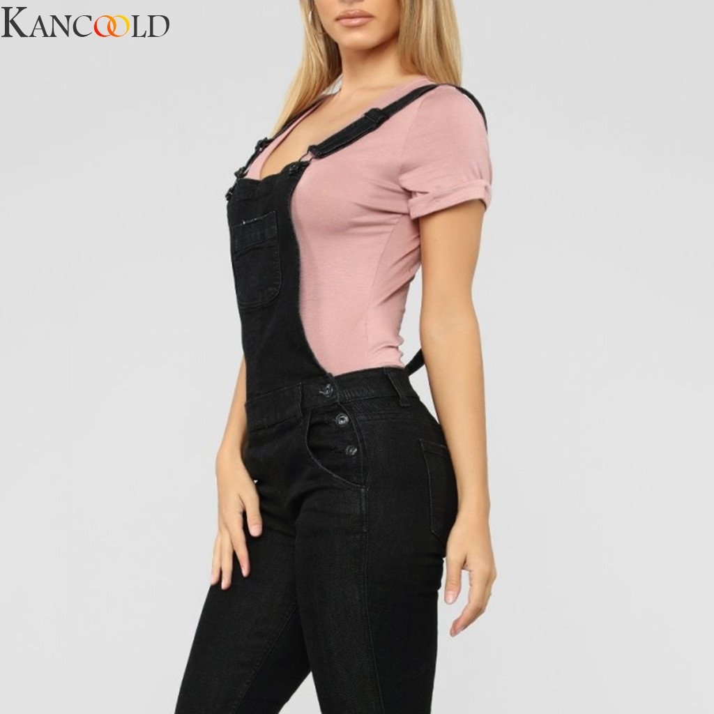 KANCOOLD Women's Fashion Denim Bib  Pocket Casual Loose Denim Overalls Lady's Oversized Hole Ripped Baggy Jeans Jumpsuits Pants