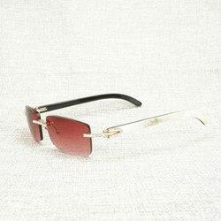 Мужские и женские Винтажные Солнцезащитные очки без оправы, стразы из натурального рога буйвола, квадратные солнцезащитные очки для улицы