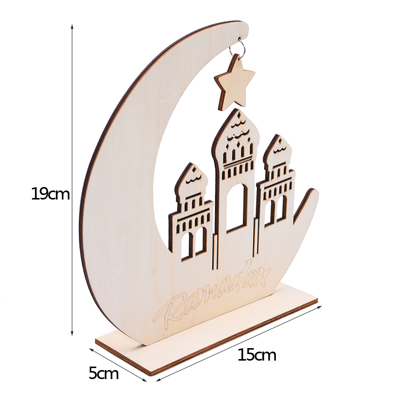 Ramadan Eid Mubarak Wood Craft  Moon Wooden Plaque Decorations for Home Hanging Ornament Pendant Islam Muslim Party Supplies