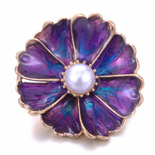 Purple Snap Jewelry Big Crystal Flower Metal 18mm Button Lucky Gift Fit Bracelet Bangles DIY Buttons