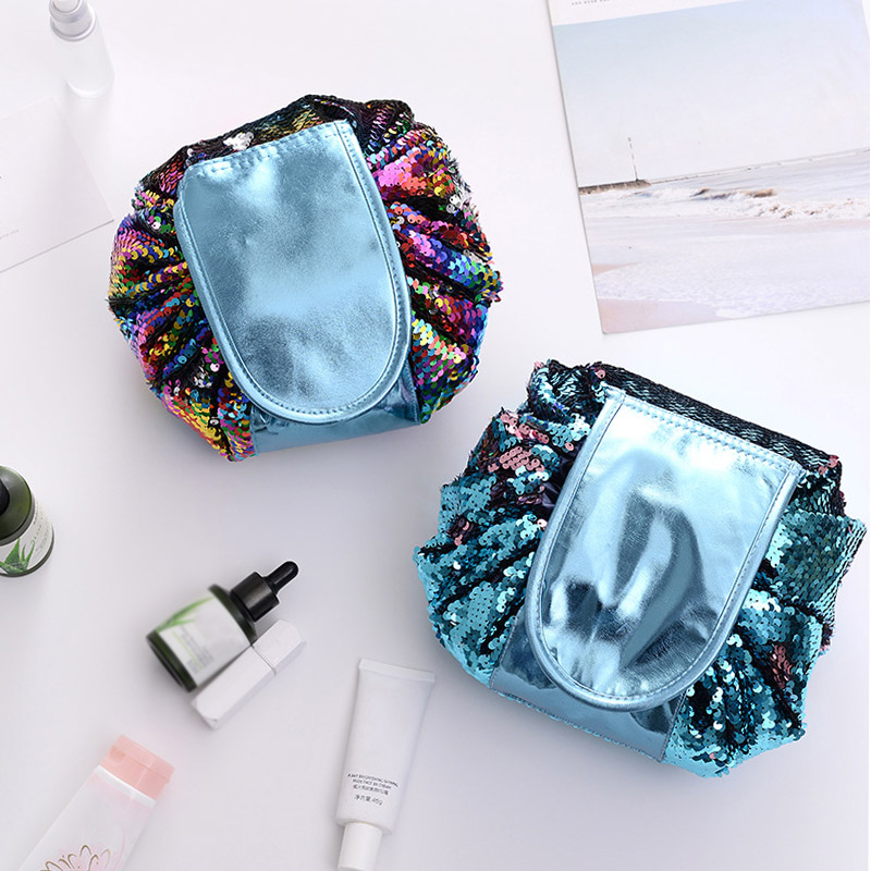 H911e1c4fa29d43c092510d6f8755030aC - New Mermaid Sequins Makeup Bag Pouch Glitter Sequins Cosmetic Bags Drawstring Shrink Storage Pack Portable Travel Toiletry Wash