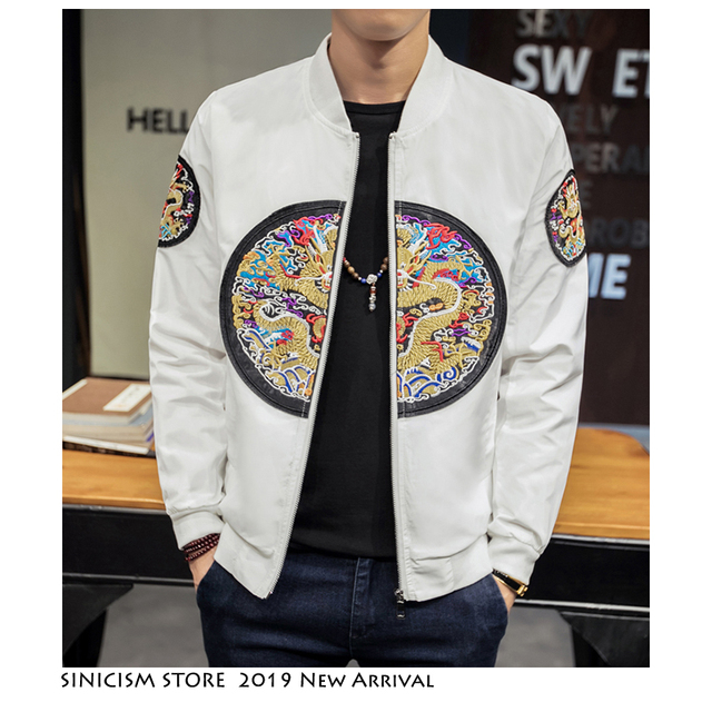 Sinicism Store Men 2019 Autumn Embroidery Chinese Style Jackets Mens Korean Loose Fashion Streetwear Clothes Male Hip Hop Jacket