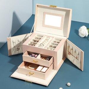Image 2 - 2020 luksusowe pudełko na biżuterię Organizer duże PU skórzane szuflady pudełka na biżuterię kolczyk pierścień naszyjnik pojemnik na biżuterię prezent trumny