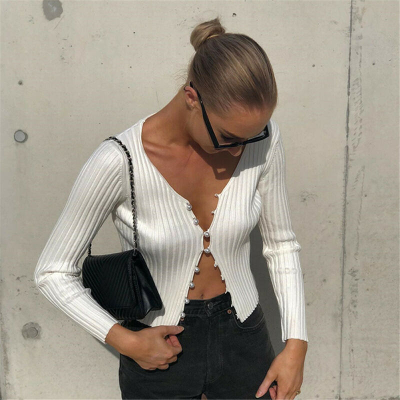Newest Women's Pearl Button Casual Autumn Summer Sweater Top Solid Knitted Stretch Slim Fit Sweater Crop Female Hot Sale