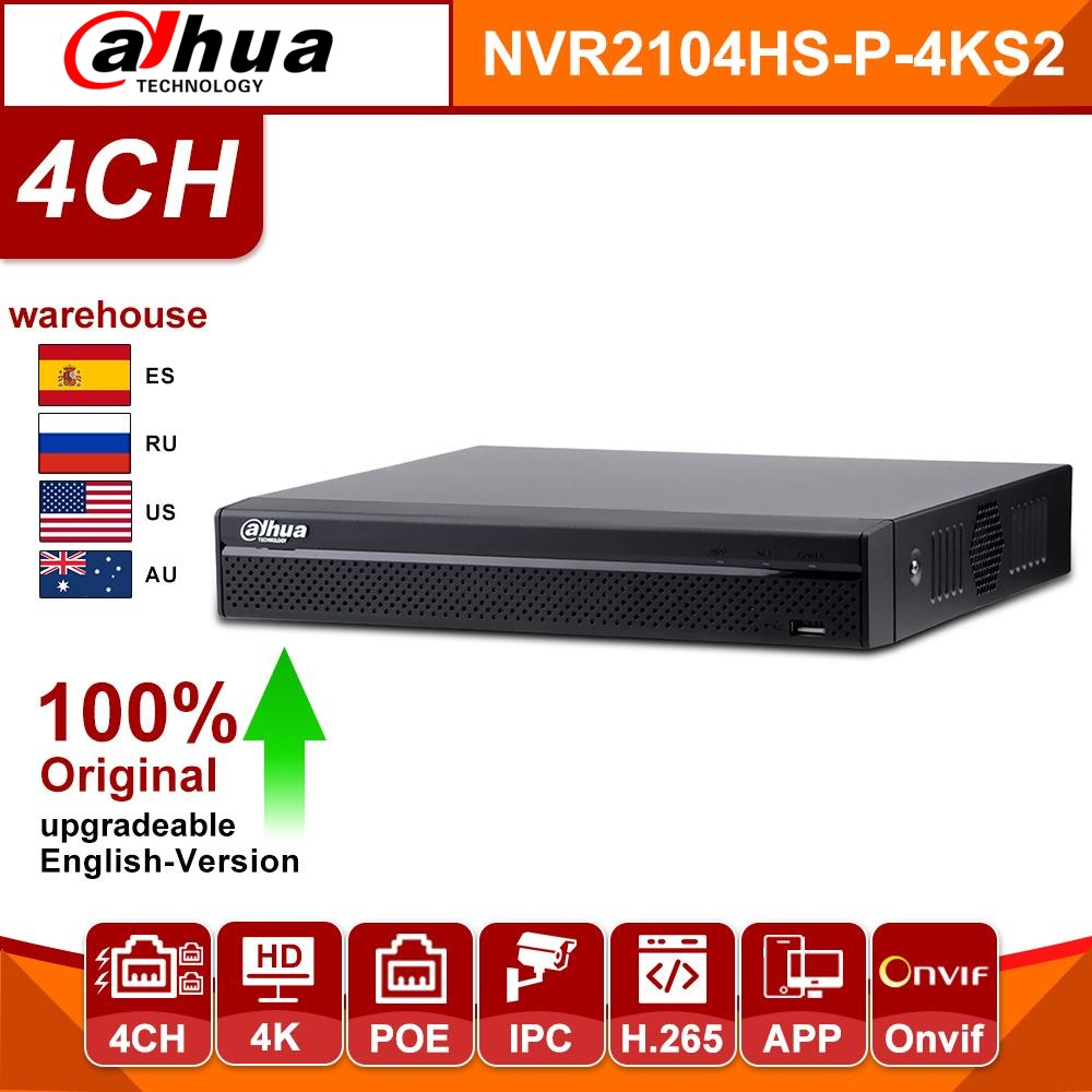Original Dahua NVR2104HS-P-4KS2 NVR4CH POE NVR 4K Network Video Recorder With 1SATA 2USB Interface For IP Camera Without Logo