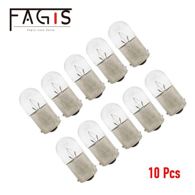 Fagis 10 pces originais r5w r10w 12v 24v 5w 10 t16 lâmpada de sinal do carro padrão caminhão automático interior luz da placa de licença lâmpadas halógenas